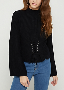 Black Corset Mock Neck Sweater