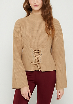 Tan Corset Mock Neck Sweater
