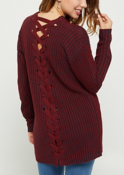 Red Lace Up Knit Cardigan