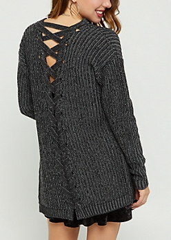 Black Lace Up Knit Cardigan