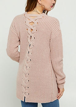 Pink Lace Up Knit Cardigan