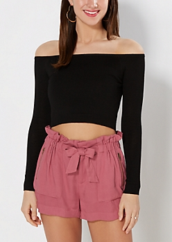 Black Off Shoulder Cropped Sweater