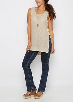 Sand Cut-Out Sleeveless Top