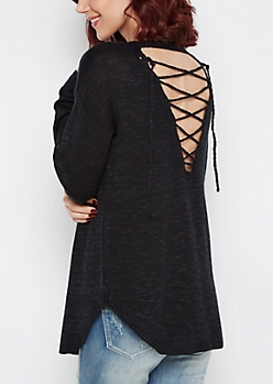 Black Lace-Back Sweater