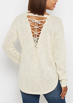 Ivory Lace-Back Sweater