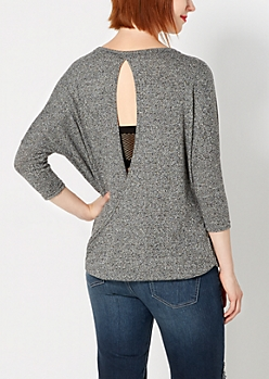 Black Surplice Back Dolman Sweater