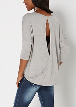 Gray Surplice Back Dolman Sweater