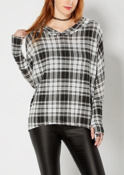 Brushed Black Plaid Pullover Hoodie