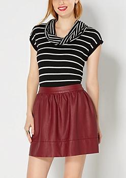 Black Striped Cowl Neck Sweater