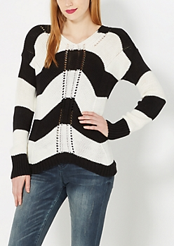 Black Striped Knit Sweater