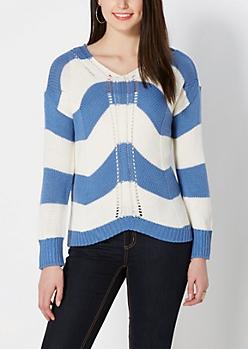 Blue Striped Knit Sweater