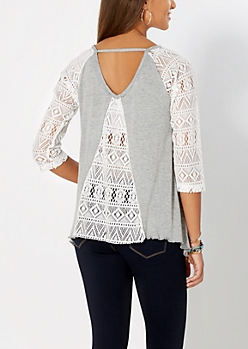Heather Grey Geo Lace Baseball Top