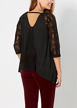 Charcoal Grey Geo Lace Baseball Top