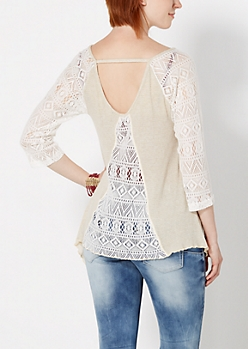 Oatmeal Heather Geo Lace Baseball Top