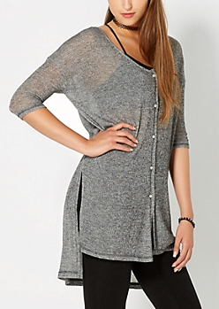 Black Marled High Low Cardigan