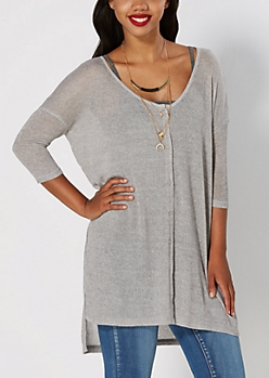 Silver Marled High Low Cardigan