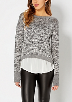 Black Space Dyed Layered Sweater