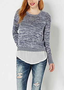 Navy Space Dyed Layered Sweater