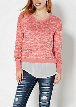 Red Space Dyed Layered Sweater