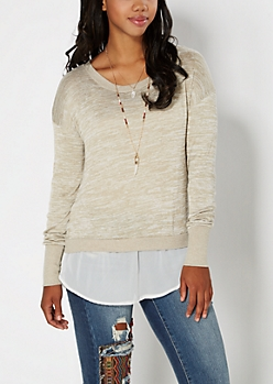 Tan Space Dyed Layered Sweater