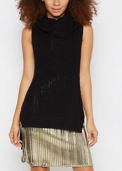 Black Cowl Neck Sleeveless Sweater