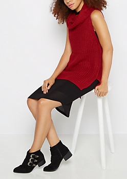 Burgundy Cowl Neck Sleeveless Sweater
