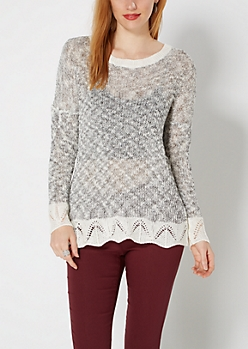 Black Marled Wide Knit Sweater