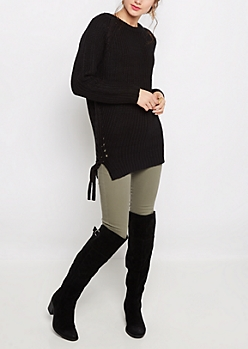 Black Lace-Up Tunic Sweater