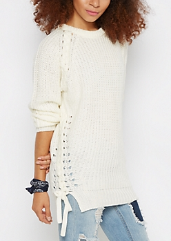 Ivory Lace-Up Tunic Sweater