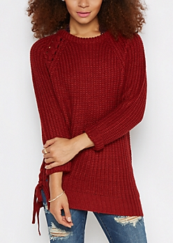 Burgundy Lace-Up Tunic Sweater