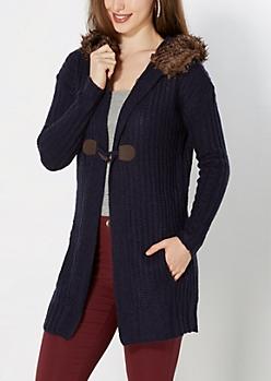 Navy Faux Fur Hood Cardigan