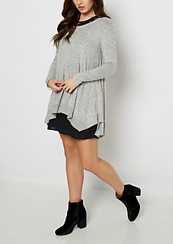 Gray Marled Sharkbite Sweater