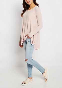 Pink Marled Sharkbite Sweater