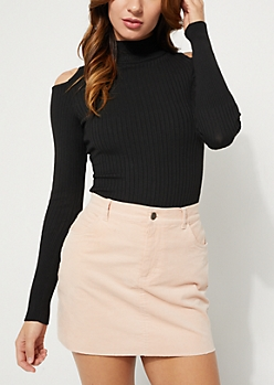 Black Ribbed Cutout Tunic Sweater
