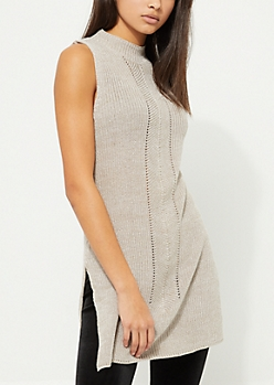 Oatmeal Heather Mock Neck Tunic Sweater