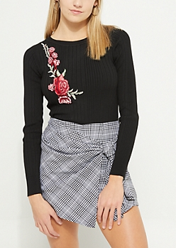 Black Floral Embroidered Ribbed Knit Top