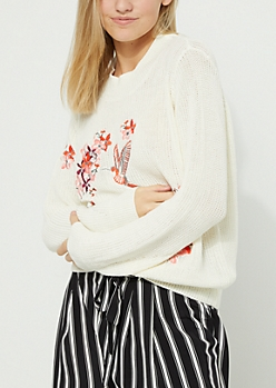 Bird & Flowers Embroidered Ivory Sweater
