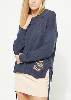 Navy Distressed Braided Sweater