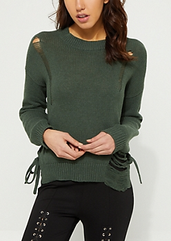 Olive Distressed Braided Sweater