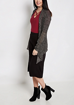 Black Marled Sharkbite Cardigan