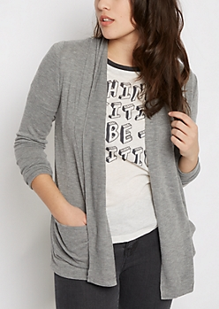 Heather Gray Soft Brushed Slouchy Cardigan