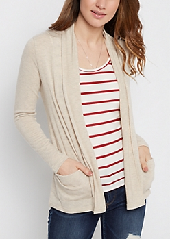 Tan Soft Brushed Slouchy Cardigan