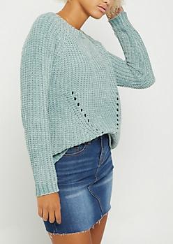Light Green Chenille Knit Sweater