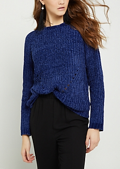Navy Chenille Knit Sweater