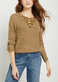 Taupe Marled Lace Up Grommet Sweater