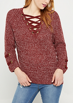 Burgundy Marled Lace Up Grommet Sweater