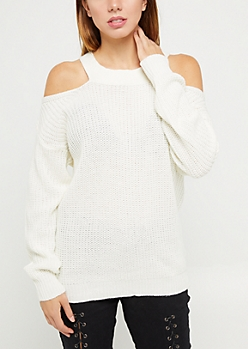 Ivory Knit Cold Shoulder Sweater