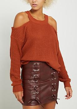 Burnt Orange Knit Cold Shoulder Sweater