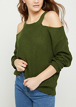 Olive Knit Cold Shoulder Sweater