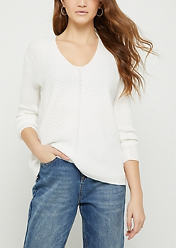 Ivory Soft Rib Knit V Neck Sweater
